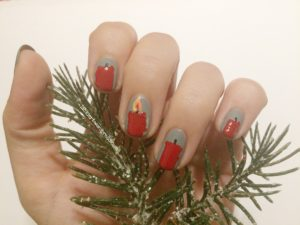 Nageldesign Adventskranz Kerzen