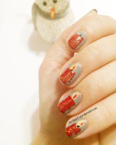 Nail Art Adventskranz auf den Nägeln 3. Advent
