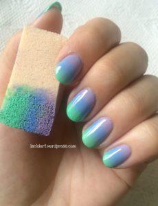 Nailart Gradient lila blau grün
