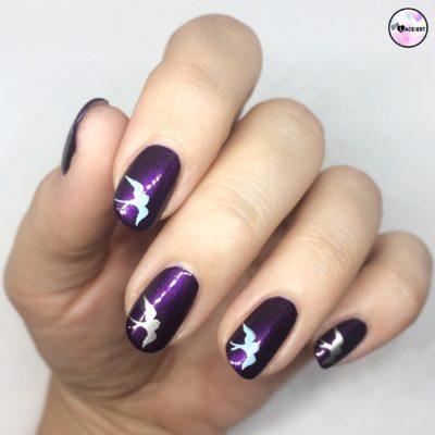 bird stamping purple