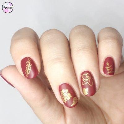 nailart leafes stamping