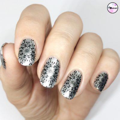 Schwarz Silber Stamping Nailart