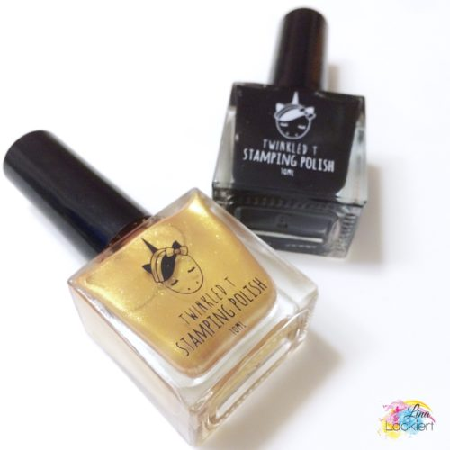 Gold and Black Stamping Polish Twinkled T