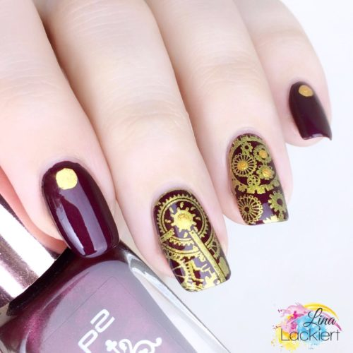 Stamping Nails gold red